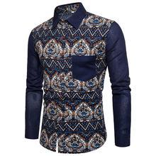 Plus size Social Mens dress Shirts Retro Floral Slim fit Casual Blouse Clothing Linen Men New