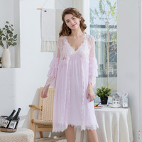 Beautiful Nightgown Sling Long Dress and Lace Transparent Robe Front Cardigan Princess Style Nightgown Pretty Multicolor
