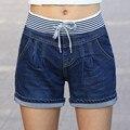 Venda quente 2016 Nova Moda Casual Shorts De Cintura Alta Mulheres Shorts Jeans de Cintura alta Elástico Na Cintura Shorts Jeans Plus Size C606