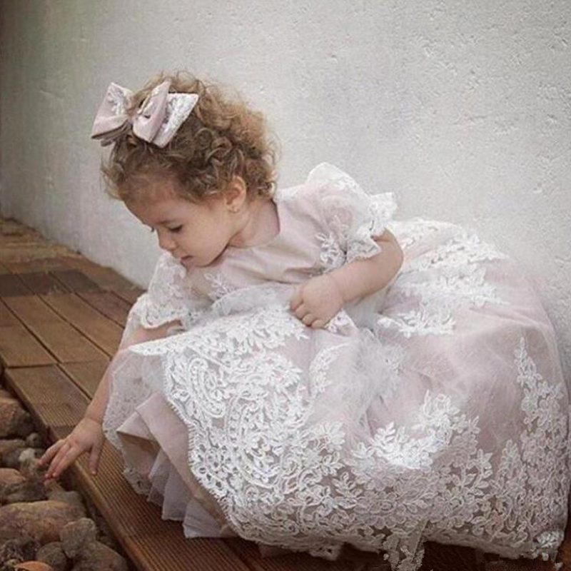 Princess Lace Appliques Gown Flower Girls Dresses Sleeves Sash Kids Little Girls Formal Party Pageant Gowns