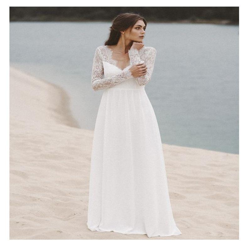 LORIE Boho White Wedding Dress Deep V Neck Lace Top Chiffon Bride Dress Elegant Floor Length