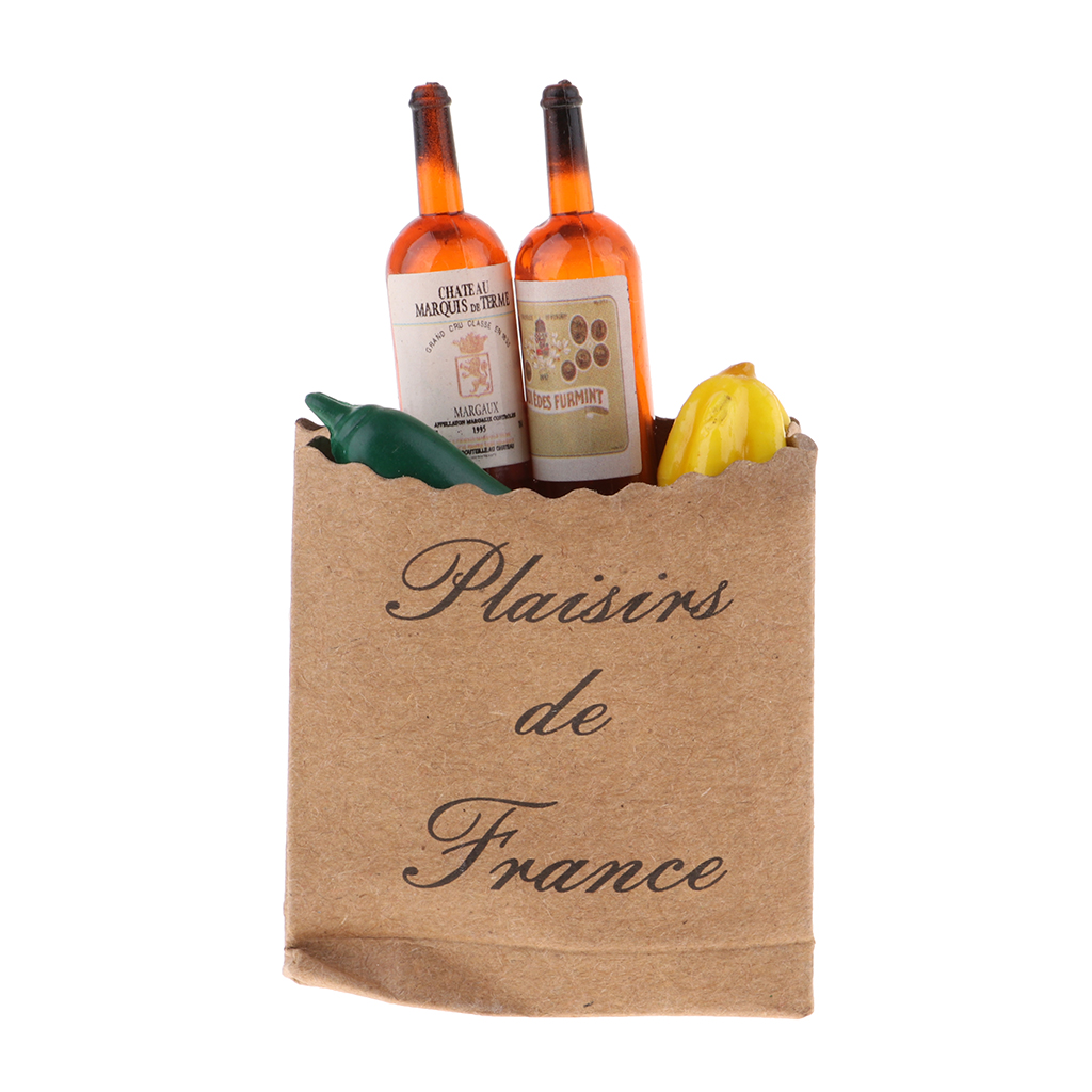 Miniature Shopping Bags Grocery Items Kraft Storage Bags With Wine Champagne Beer Bottles 1/12 Dollhouse Supermarket Toys