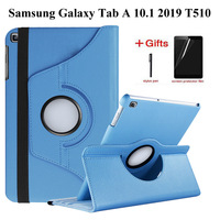 360 Roterende Case voor Samsung Galaxy Tab EEN 10.1 2019 T510 T515 Stand PU Leather Cover voor SM-T510 SM-T515 10.1 inch case + film + pen