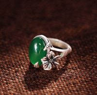 S925 Sterling Silver Rings Women Adjustable Onyx Vintage Temperament Plum Blossom Silver Ring