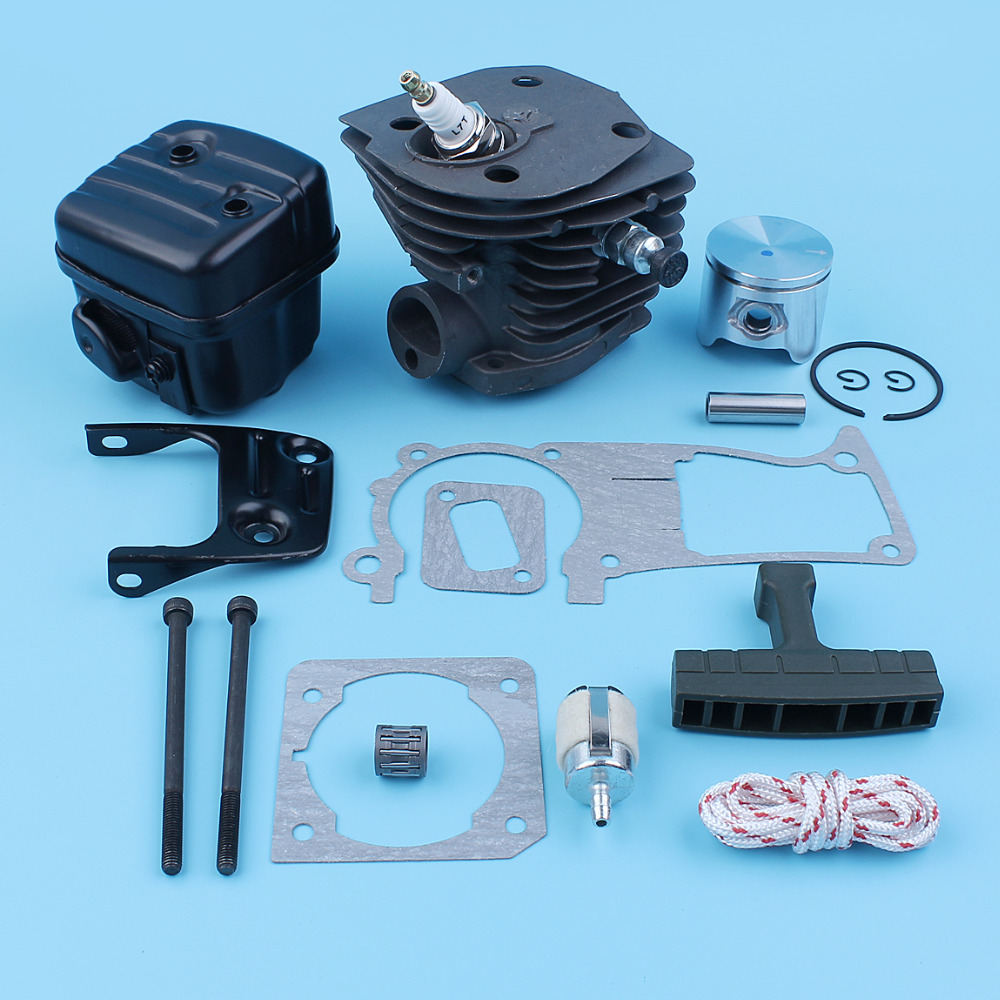44mm Cylinder Piston Ring Muffler Silencer Kit For Husqvarna 346XP 350 351 353 Chain Saw Decompression Valve Gaskets Set Nikasil nikasil cylinder piston kit 45mm big bore fits husqvarna 353 351 350 346xp epa 345 340 chainsaw decompression valve fuel filter