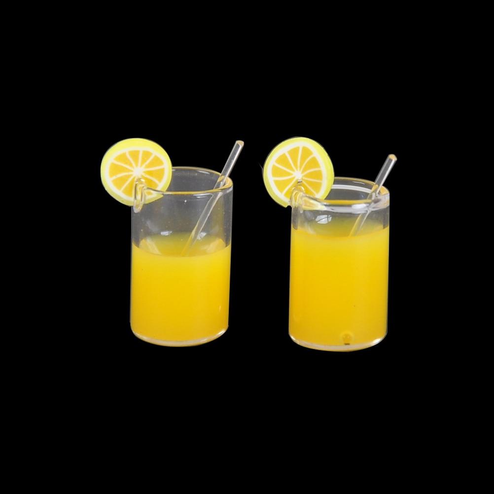 Dollhouse Miniature 1:12 Toy Orange Juice Lemon Water Drink Cup Glass Accessory