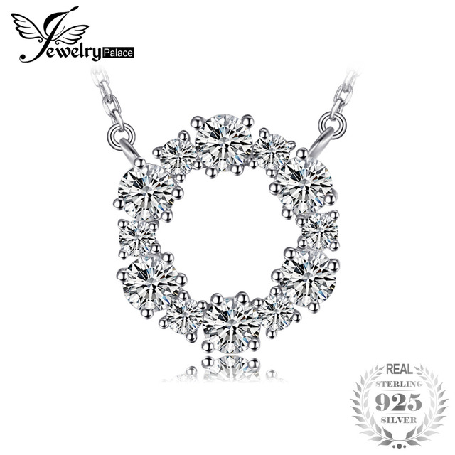 JewelryPalace 925 Sterling Silver Circle Chain Pendant Collar Necklace 45cm Fine