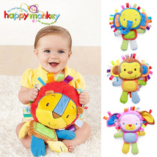 Happy Monkey Kids Baby Cute Plush Rattle Stuffed Animal Infant Educational Learning Toys Gift for Toddler Children 0-12 month