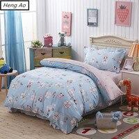 100 lençóis de cama de Algodão pintura a óleo Crianças Meninos Urso Azul jogo do Fundamento Único Gêmeo Capa de Edredão folha plana fronha
