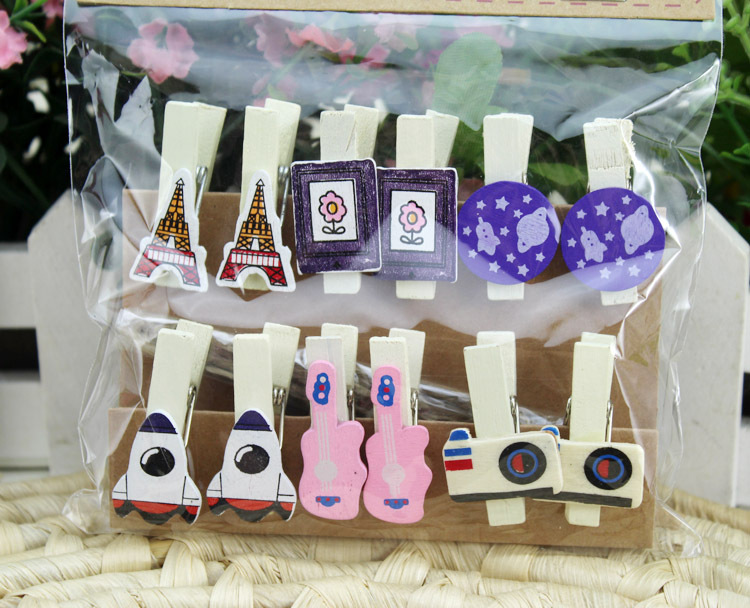 12Pcs Eiffel Tower Space shape Wooden peg clips photo memo Paper scrapbooking party home decoration craft emoticon pegs in Party DIY Decorations from Home Garden