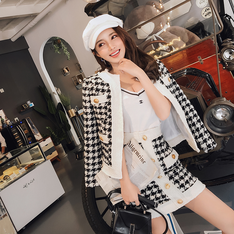 Temperament Plaid Fashion Lady Set Female Autumn New Small Fragrance Tweed Short Jacket Skirt Two-piece Set Slim Wild trend