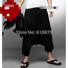 Hombres más tamaño primavera negro pantalones oversized otoño algodón  personalizada harem Lino Pantalones Hombre verano Pantalon. b659c7594f3