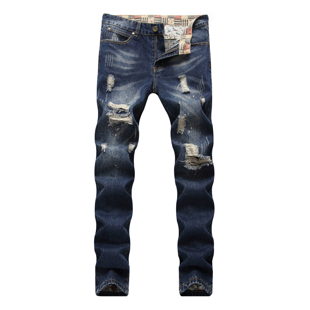 Summer new hot sale ripped jeans men hole straight slim fit fashion hip hop hole distressed male trousers plus size trousers