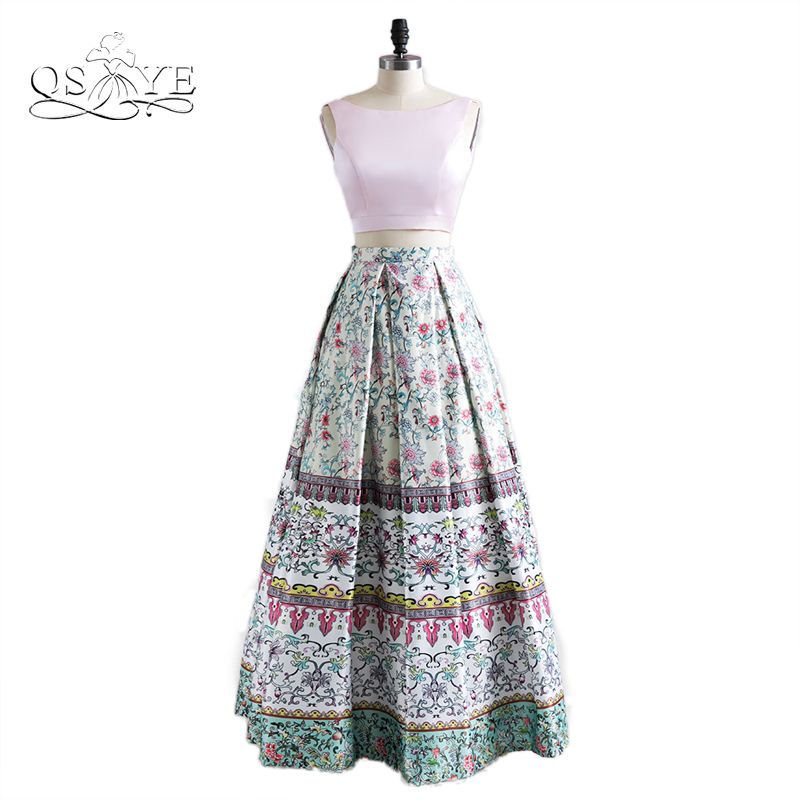 2017 New Fashion 3D Floral Print Flowers Two Piece Long Prom Dresses Robe de Soiree Sexy Open Back Satin Evening Party Gown