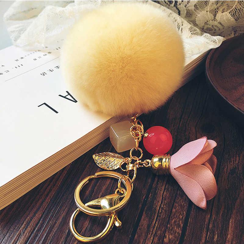 8 cm Fofo Real Rabbit Fur Pompom Pom Pom Bola Flor de Tecido Chaveiro Llavero Chaveiro Titular da Chave de Pele de Coelho Charme bolsa Pingente