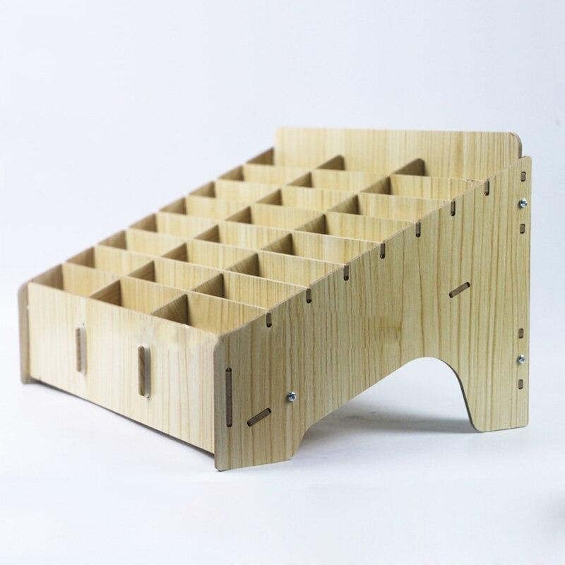 Wooden mobile phone management storage box creative desktop office meeting finishing gri ...