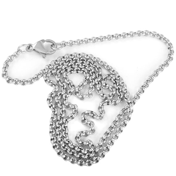 IJC0006 50pcs lot Bulk Wholesale 2mm Stainless Steel Rollo Chain Necklace For Women Men Pendant Jewelry