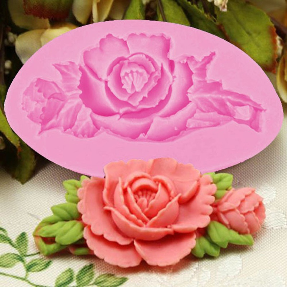Cake Decorating With Chocolate Candy : 3D Rose Flower Cake Silicone Mold Fondant Cake Decorating ...