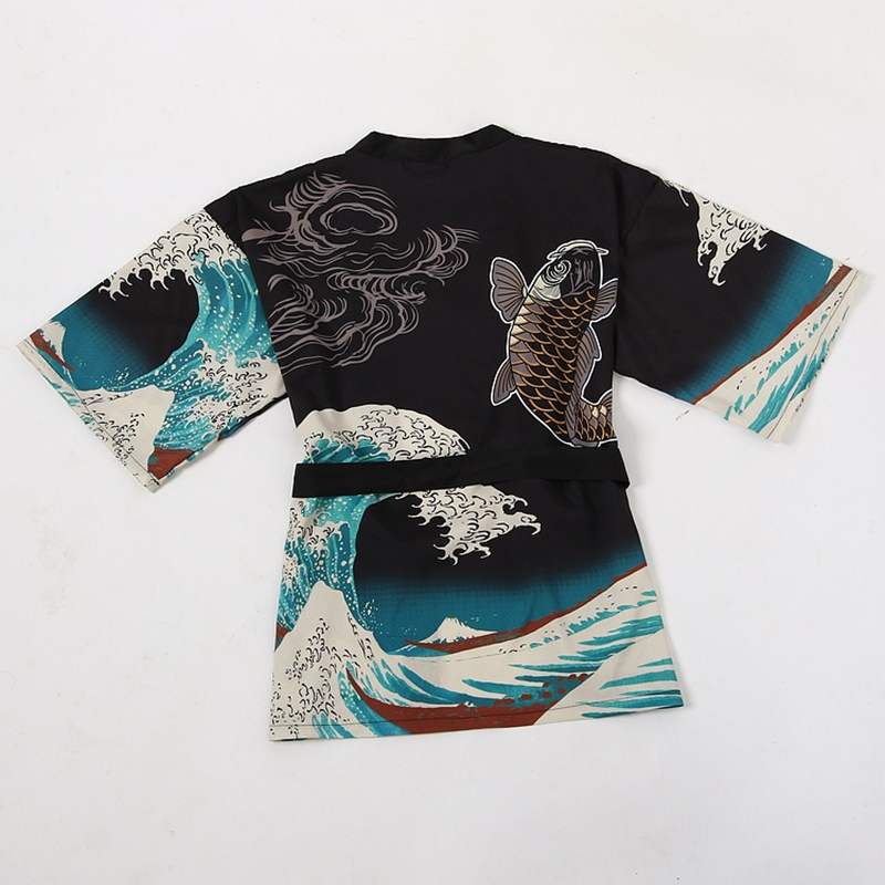 Harajuku Kimono Waves Carp Print Kawaii Long Shirts 2019 Summer Tops Japanese Kimono Cardigan Female Blouse Women Shirts