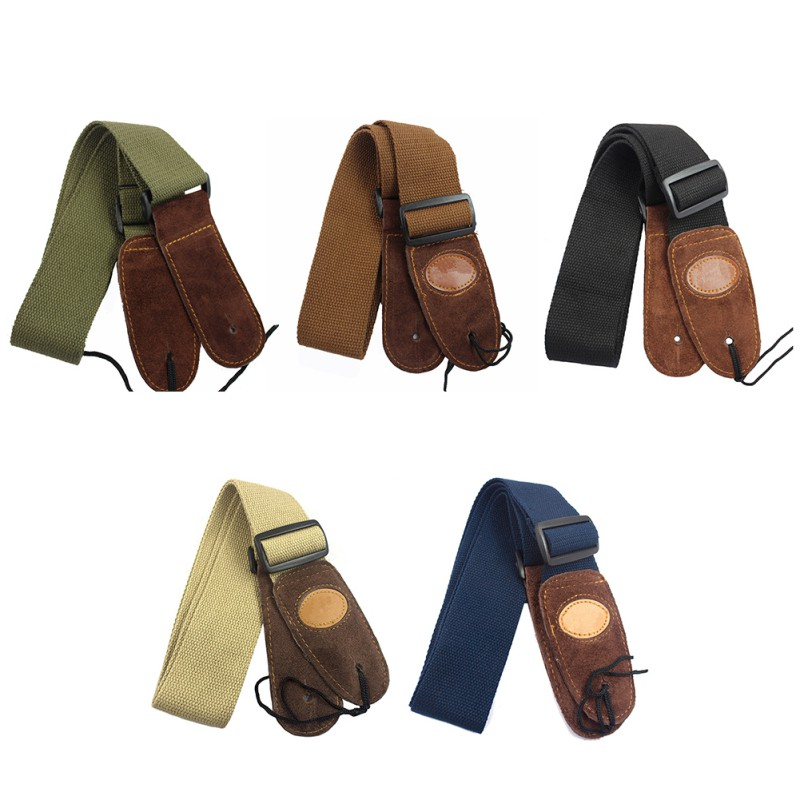 Guitar Strap Leather Head Cotton Strap Shoulder Strap Adjustable PU Leather Cotton Braided String Instrument Accessories