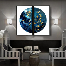 HAOCHU Modern Minimalist Porch Secluded Blue Flying Bird Zen Living Room Study Chinese Landscape Mural Home Decor Painting Arts