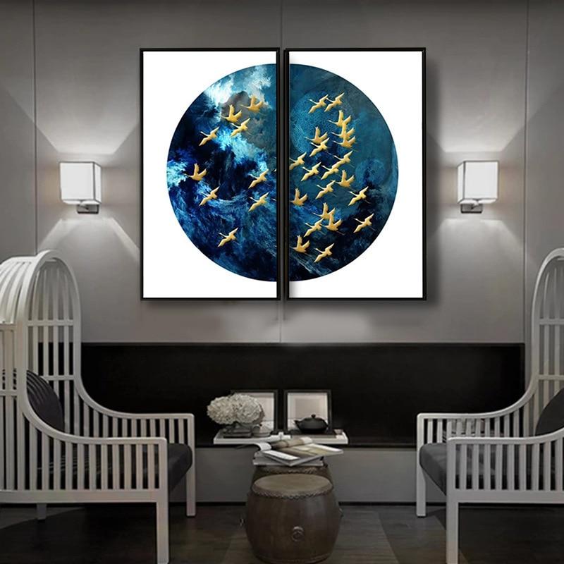 >HAOCHU Modern <font><b>Minimalist</b></font> Porch Secluded Blue Flying Bird <font><b>Zen</b></font> Living Room Study Chinese Landscape Mural Home Decor Painting Arts