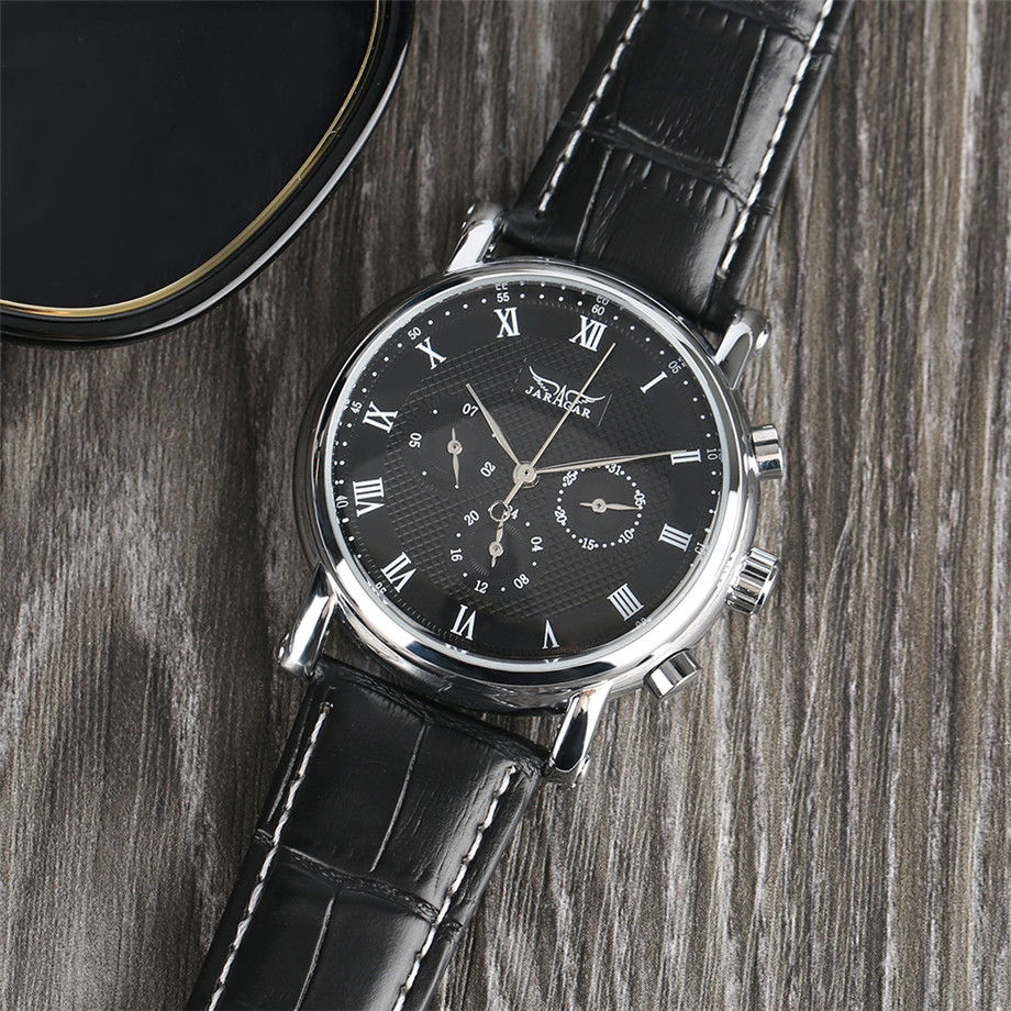 JARAGAR black genuine leather band mechanical watch men11