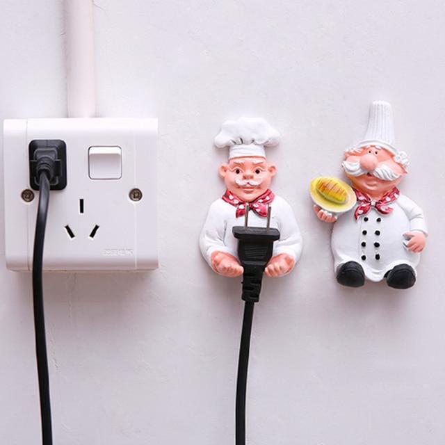 1 set Cute Cartoon Resin Plug holder hanger Power Cord Socket Bracket Organizer Self adhesive wall hook Storage Rack