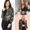Sexy Women Camouflage Autumn Jackets Vintage Zip Round Neck Coat Military Camo Classic Bomber Jacket Camouflage Coat Outwear