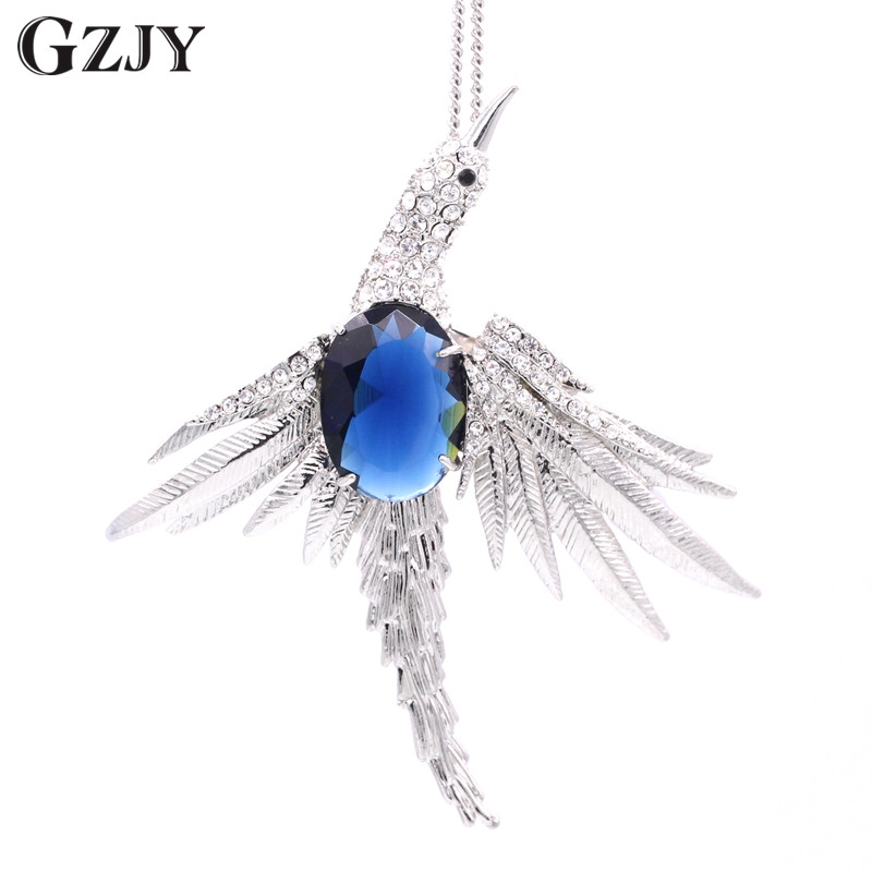 GZJY Fashion Style Bird White Gold Pated Colorful AAA Zircon Wedding Party Brooch/Pendant Multiple Use Clothes Pins Accessories