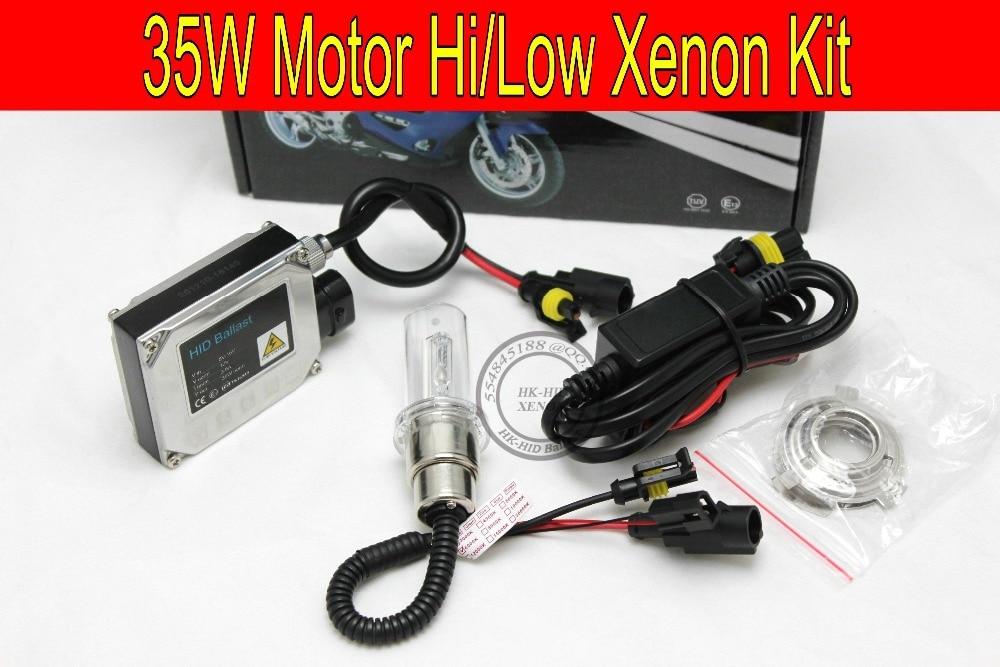 Free shipping 1 set 35W HID kit for Motor/Motorcycle Bike Bi-Xenon Kit Hi/Low Xenon Bulb top quality H6 Kit with slim ballast