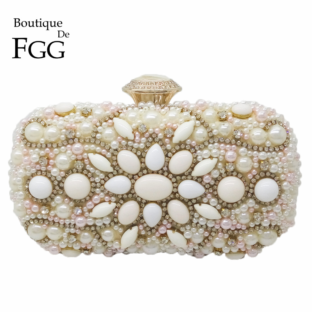 ФОТО Champagne Pink Women Beaded Evening Bag Bridal Wedding Cocktail Party Crystal Shoulder Handbags Metal Minaudiere Clutch Purse