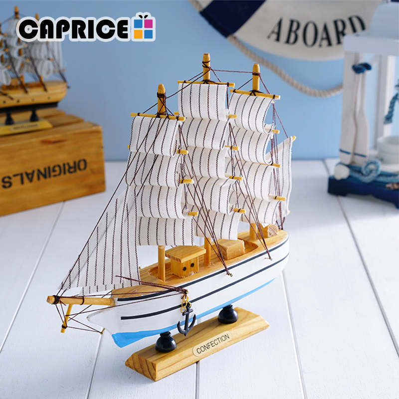 Handmade Wooden Sailing Boats Home Decor Retro Ship Crafts Model Wood Decoration Sailboat Birthday Gift Souvenirs Kids FCMX