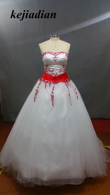 Red And White Wedding Dress Embroidery 2017 A Line Country Western