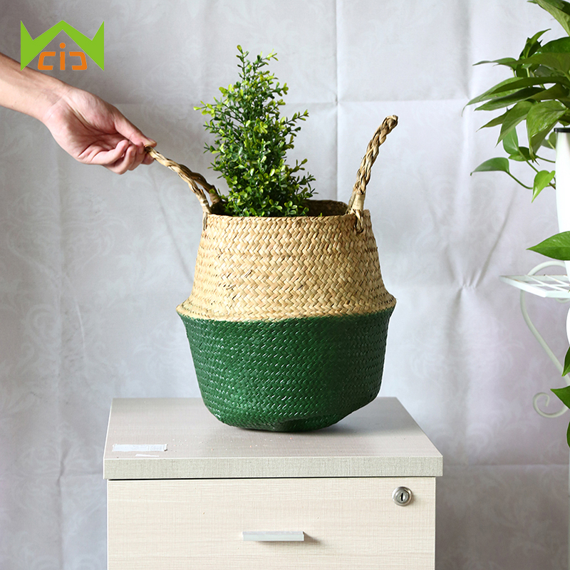 WCIC Nordic Decorative Folding Basket Handmade Storage Basket Living Room Laundry Basket Storage Flower Wickerwork Basket