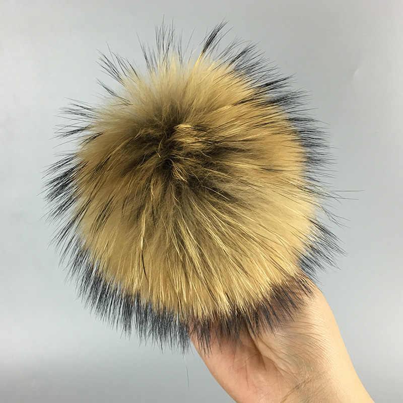 13 cm Natural chaveiro bola de pele de guaxinim chapéu de pele de chapéus de inverno pele pom pom para sapatos 100% real fur cap acessórios Livre grátis