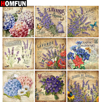 HOMFUN Full Square/Round Drill 5D DIY Diamond Painting Flower text 3D Embroidery Cross Stitch Home Decor Gift