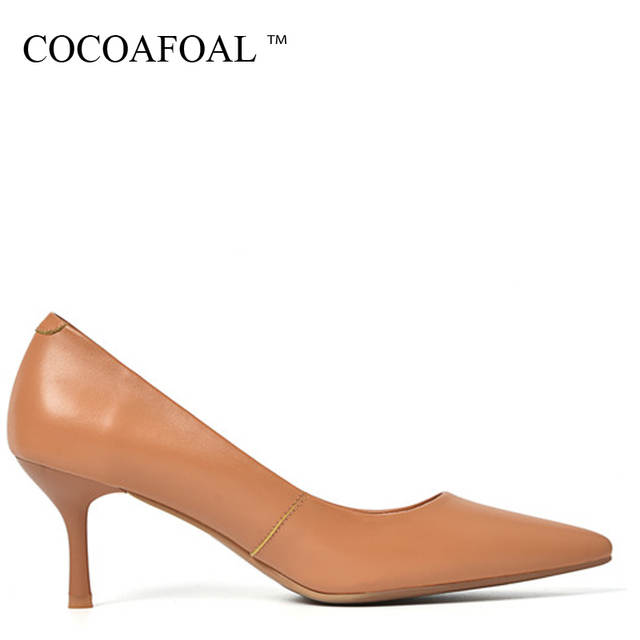 c6b9c19f82 COCOAFOAL Woman Genuine Leather Pumps Apricot Brown Fashion Sexy Stiletto  High Heels Shoes Snakeskin Pointed Toe Career Pump