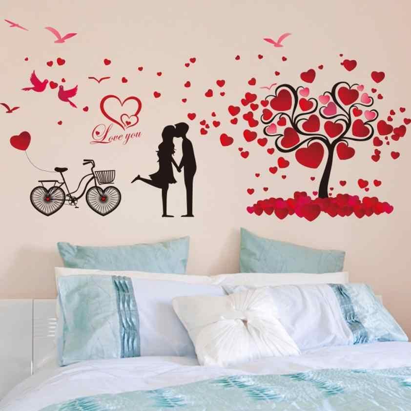 Rumah Dekor Cinta Pohon Dapat Dilepaskan Dekor Stiker Dinding Mural Lingkungan Stiker Dinding Stiker Rumah Deco Cermin AU6