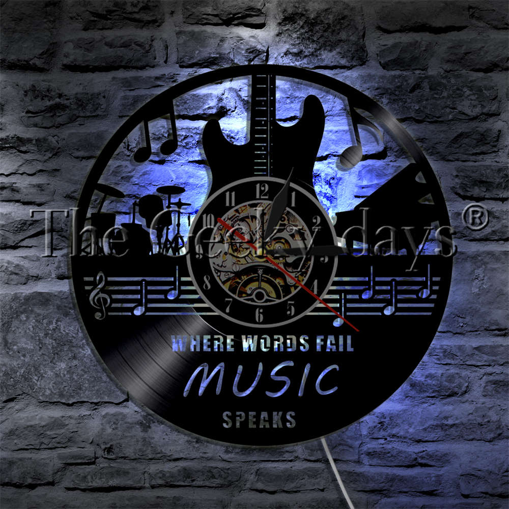 1Piece Where Words Fail Music Speaks LED Light Vinyl Record Wall Clock Rock Music Guitar Musical Instrument Modern Wall Lamp|LED Indoor Wall Lamps| |  - title=
