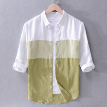New Italy brand linen shirts men summer color matching shirt mens fashion casual flax shirt male tops chemise camiseta drop-ship