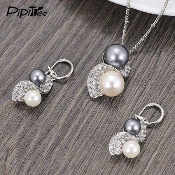 Роскошный бренд имитация серьги из жемчуга свадебные комплекты ювелирных изделий винтажный Модный комплект свадебных украшений с кристаллами для женщин подарок