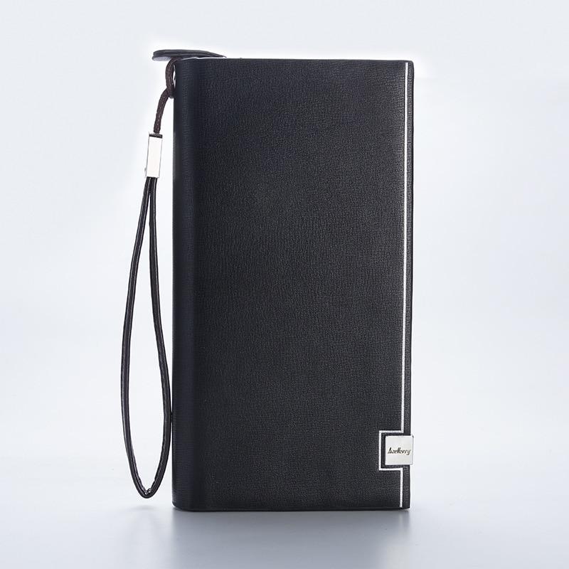 Men Purse Long Wallet Check-Holder Cross-Border Business Zipper with Photo-Id Passbook