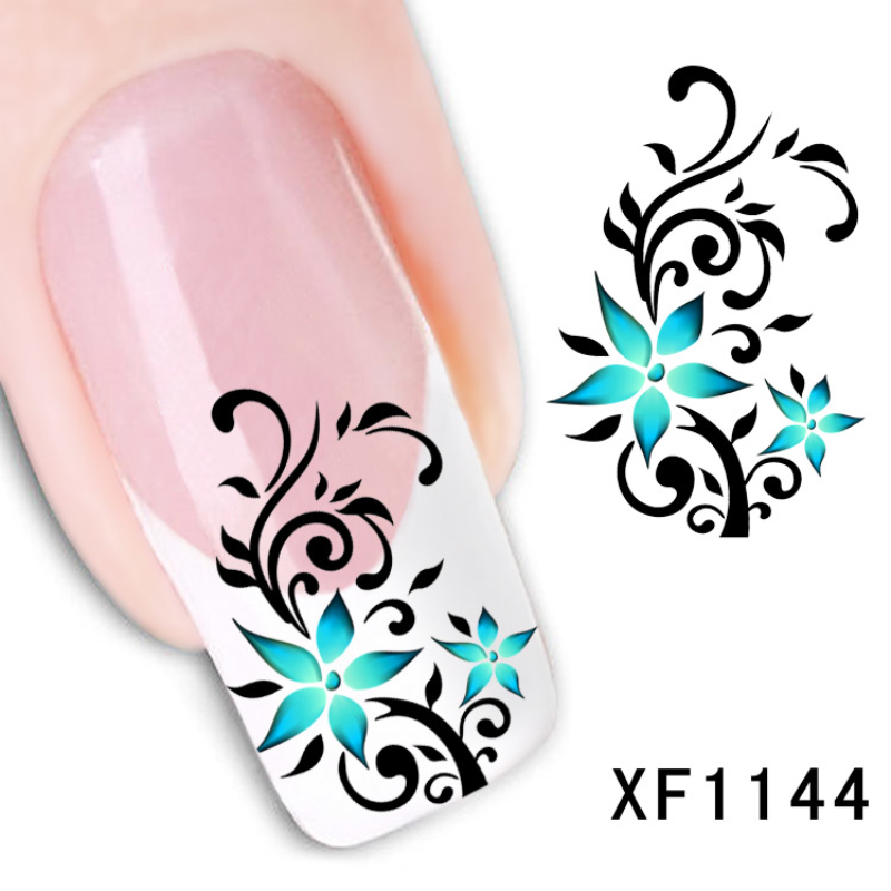 ELECOOL Flower Pattern 1Pc 10 Styles Nail Stickers Water transfer Manicure Decals Home DIY or Salon Art Manicure Nails Decal 24 styles french manicure diy 3d nail art tips guides stickers stencil strip nail hollow stickers nail art