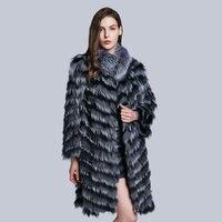 JKP JKP women's real silver fox fur coat fashion striped large fur collar coat women's fox fur coat clothes HXP F005