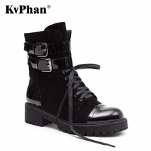KvPhan New Genuine Leather suede Ladies Shoes Woman Ankle Boots Round Toe square Med heel Short Plush Autumn black 35-40 size