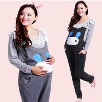 2019 Autumn Winter Cotton Pocket Maternity Clothes Jumpsuits Lovely Rabbit Belly Bib Pants Overalls for Pregnant Women SH-S121
