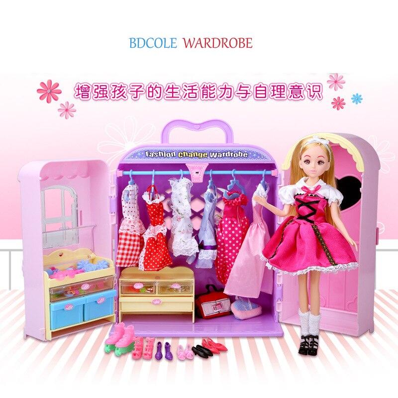 Livraison gratuite boîte cadeau de luxe emballé en plastique jouet vestiaire maison de poupée meubles garde-robe jouer ensemble accessoires pour Barbie