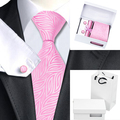 Laços Dos Homens De Seda Rosa quente Novidade B-1093 Gravata Lenço Abotoaduras Caixa de Presente Conjunto de Saco Populares Laços Para Homens de Negócios de Casamento