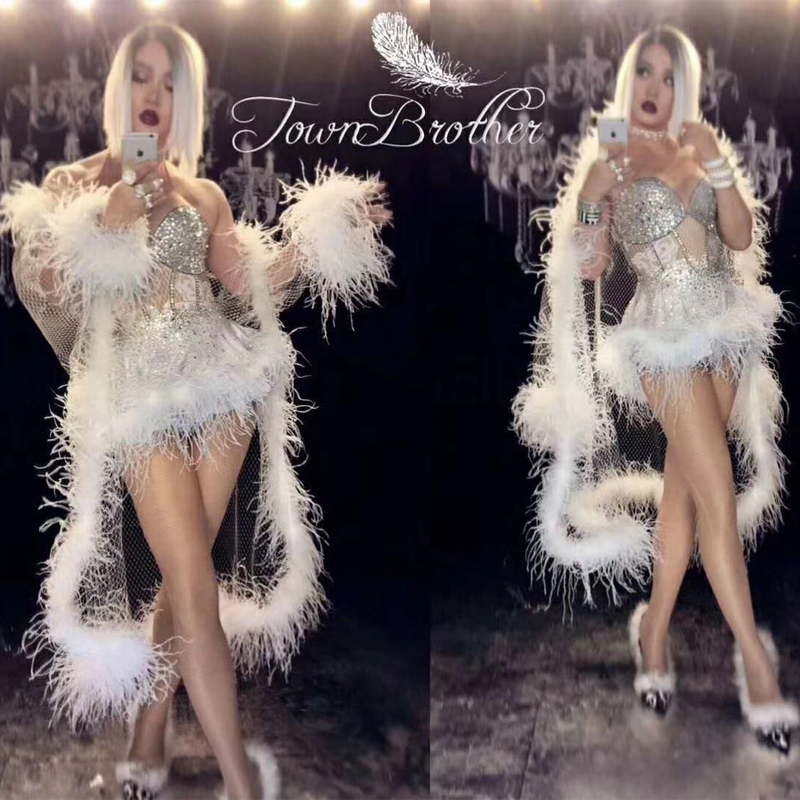 2018 Glisten Rhinestones White Feather Dress Birthday Celebrate Dress Nightclub Party Singer Costume Dance Show Outfit DJ336